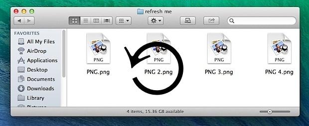Aggiorna le finestre del Finder in Mac OS X.