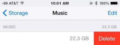 Elimina tutta la musica da iPhone