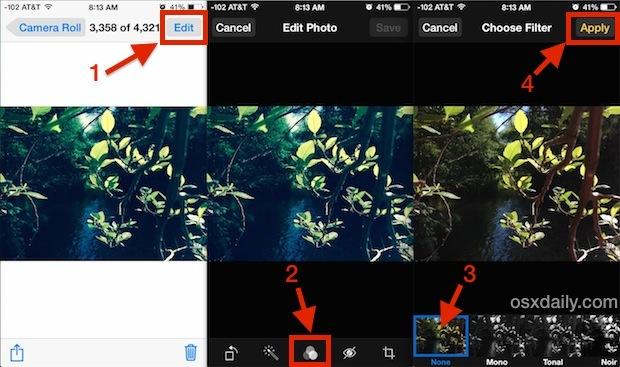 Rimuovi i filtri colorati dalle foto in iOS