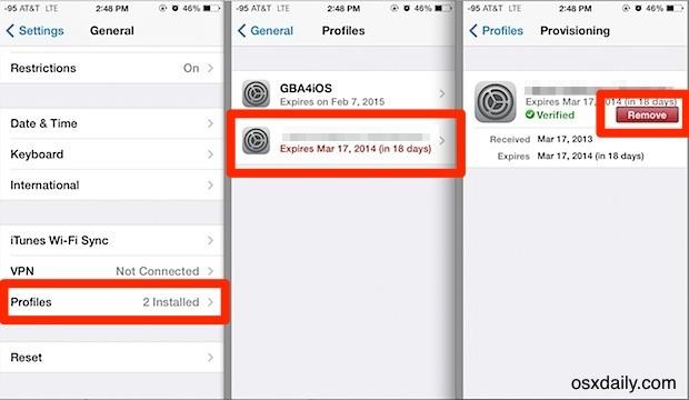 Rimuovi il profilo di provisioning nelle impostazioni di iOS