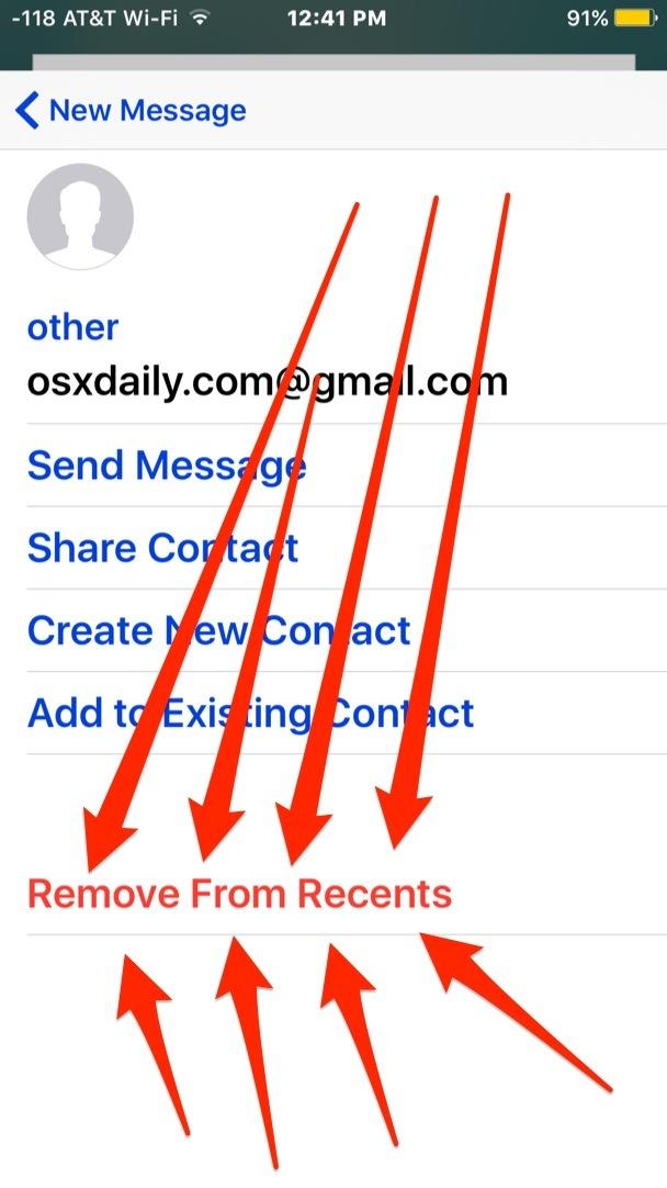 Rimozione di un indirizzo email dall'elenco dei suggerimenti recenti in iOS Mail