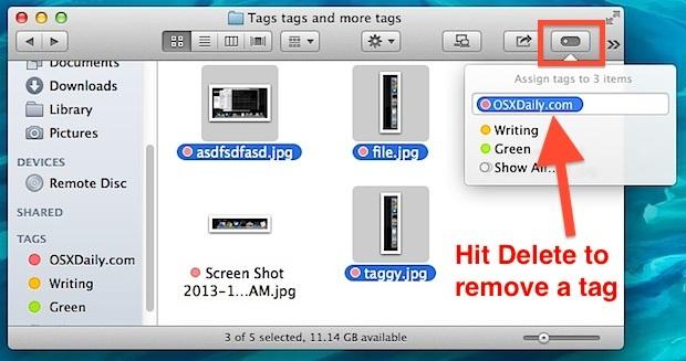 Rimuovi un tag dalla barra degli strumenti Tag nel Finder