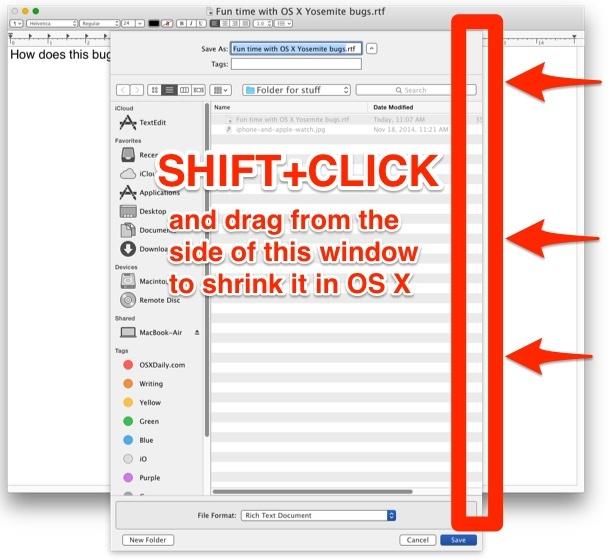 Ridimensiona un'enorme finestra di dialogo Apri e Salva in OS X con un clic Maiusc e trascina