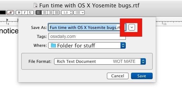 Riduci una finestra di dialogo Salva in OS X