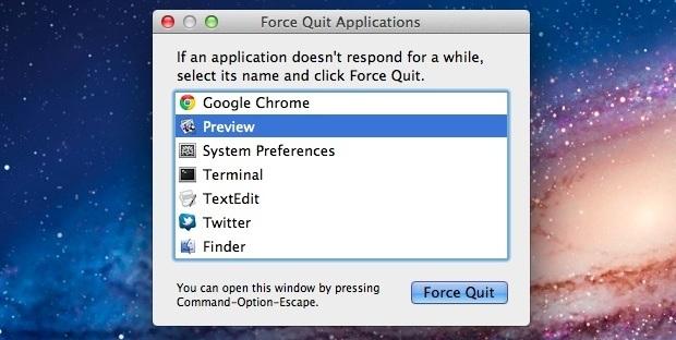 La finestra di chiusura forzata in OS X