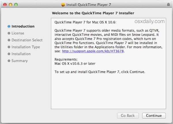 Installa QuickTime Player 7 nelle nuove versioni di OS X