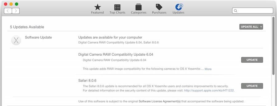 Aggiornamento di Safari 8.0.6