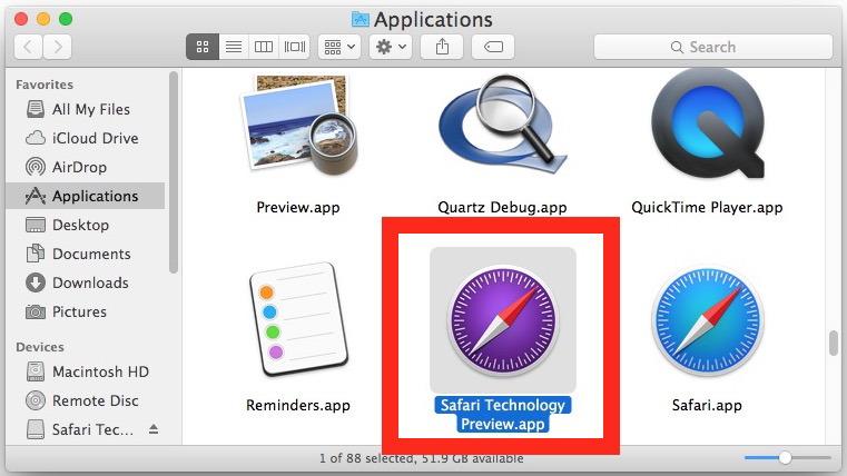 Safari Tech Preview su Mac