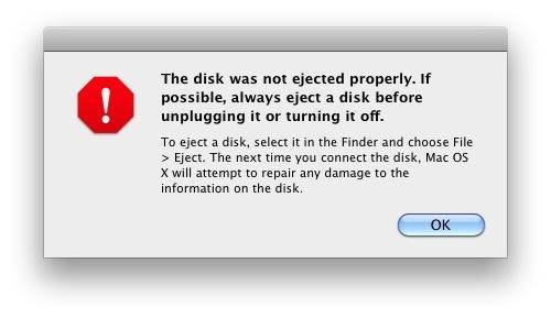 Errore disco non espulso in Mac OSX con le istruzioni su come rimuovere in modo sicuro l'hardware