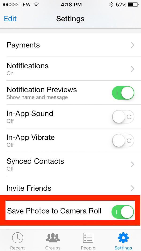 Salva automaticamente le foto su iPhone da Facebook Messenger