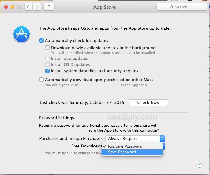 Salva la password per download di app store gratuiti in Mac OS X