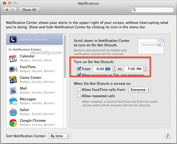 Pianifica Non disturbare in OS X