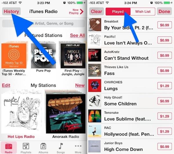 Controlla la cronologia di ascolto della radio di iTunes