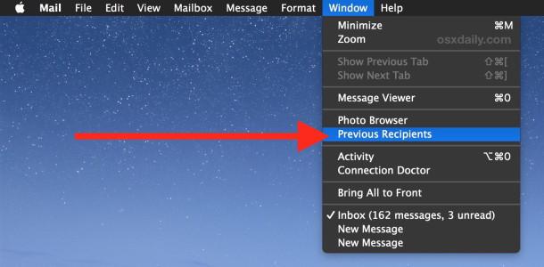 Visualizza precedenti destinatari di e-mail su Mac