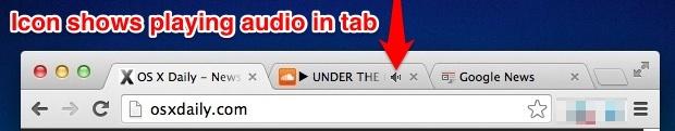 L'icona della scheda mostra la riproduzione audio in Google Chrome