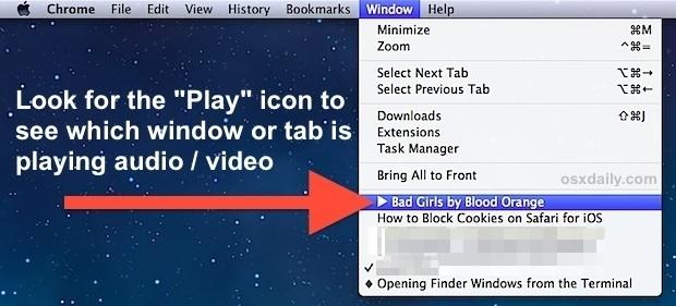 Identificazione della scheda o della finestra che riproduce audio o video in Chrome