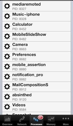 Elenco dei processi in background su iPhone