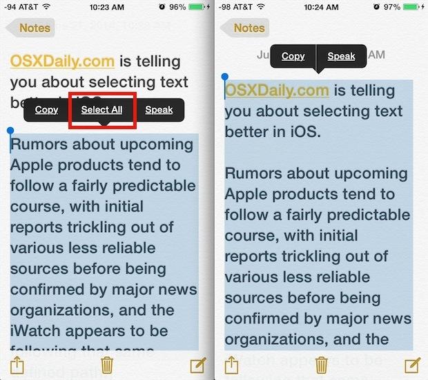 Seleziona tutto il testo velocemente in iOS