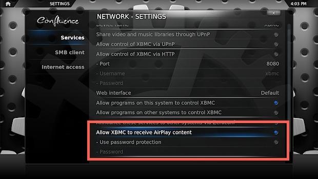Abilita AirPlay in XBMC