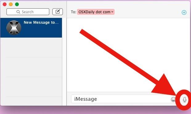 Registra un messaggio audio nell'app Messaggi OS X.