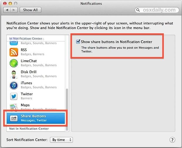 Abilita i messaggi nel centro di notifica di OS X