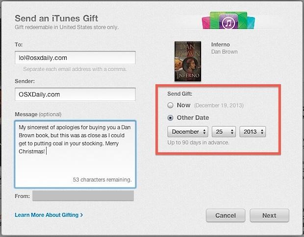 Invia iBook come regalo da iTunes