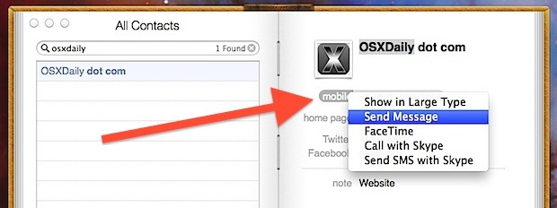 Invia messaggi, effettua telefonate, avvia FaceTime dall'app Contatti in OS X