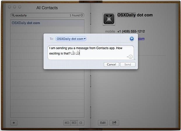 Invia messaggi di testo dall'app Contatti