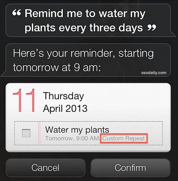 Ripeti i promemoria degli intervalli aggiunti tramite Siri in iOS