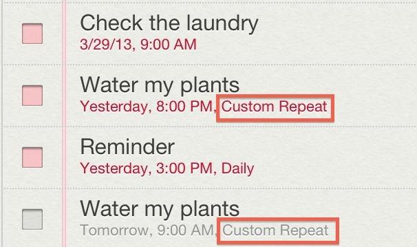 Promemoria di ripetizione personalizzati in iOS