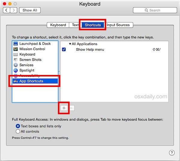 Aggiungi una nuova scorciatoia per Salvataggio in PDF in Mac OS X