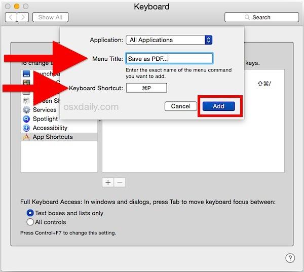 Salva come scorciatoia da tastiera PDF in Mac OS X