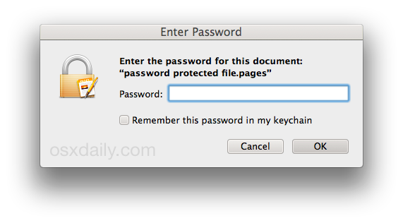 Password richiesta per aprire un file iWork in Mac OS X