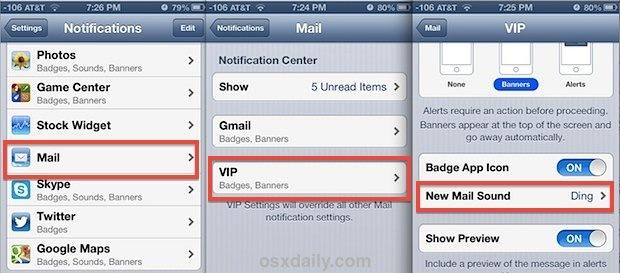 Imposta avvisi e notifiche VIP Mail personalizzati in iOS