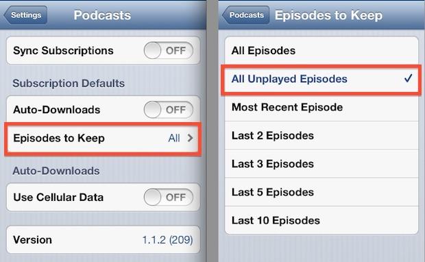 Mantieni solo gli episodi dei podcast non riprodotti