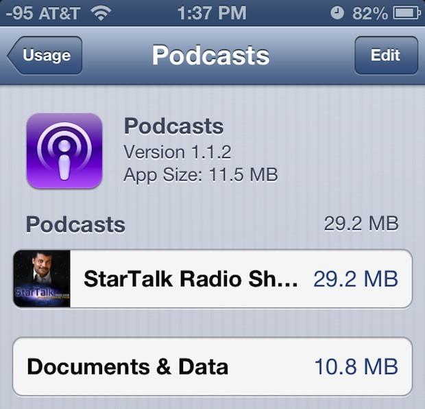 Controlla quanto spazio occupano i singoli podcast