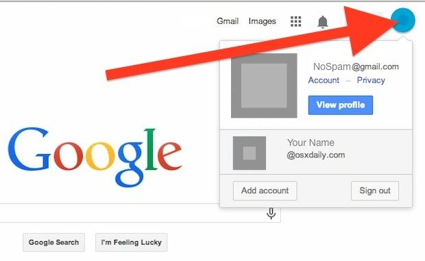 Cambia l'account Google predefinito con più accessi