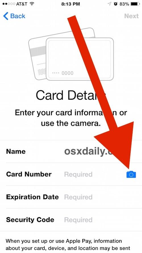 Riempi i dettagli della carta di credito di Apple Pay con la fotocamera