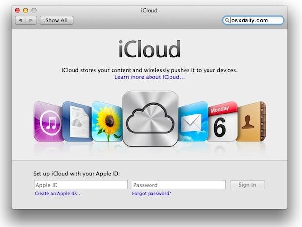 Configurazione di iCloud per Mac OS X 10.7.2