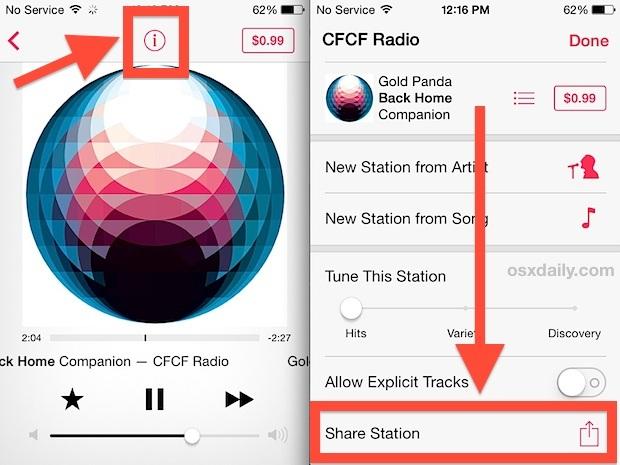 Condividi la stazione radio di iTunes
