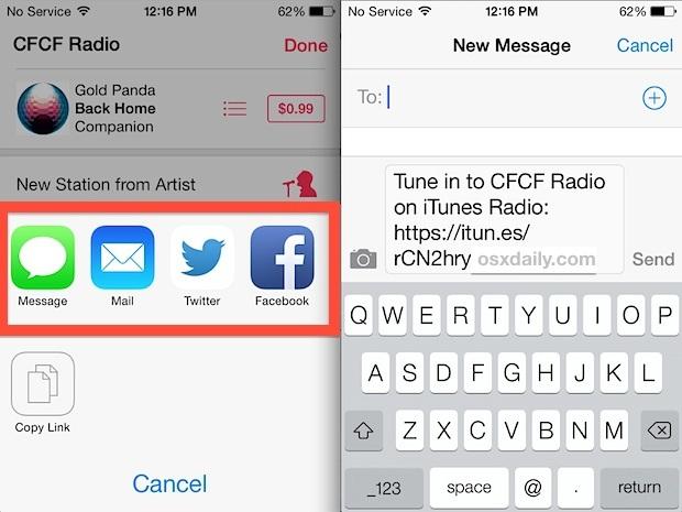 Condivisione della musica di iTunes Radio Station con gli altri