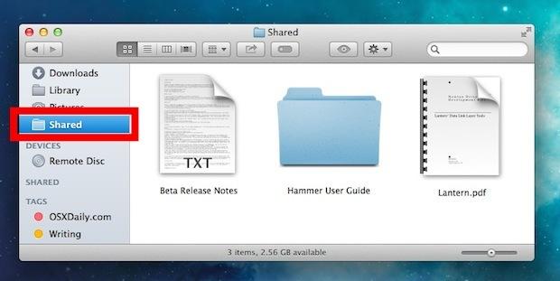 Accesso rapido alla cartella File condivisi tra account utente su Mac OS X