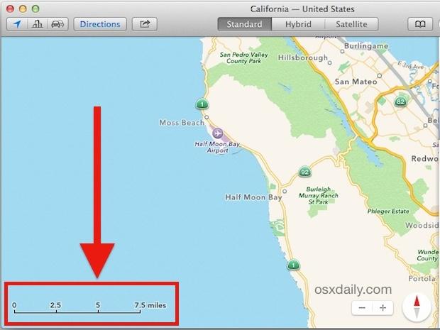 Scala di mappe visibile in Mac OS X