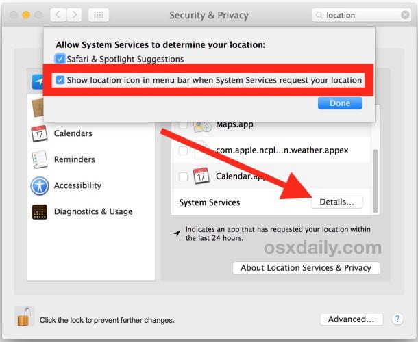 Mostra l'icona del menu di utilizzo della posizione in Mac OS X