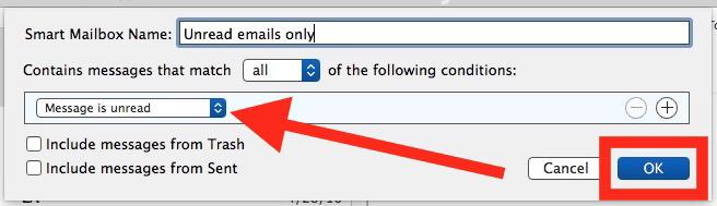 Imposta i parametri per Posta in arrivo non letti in Mac Mail