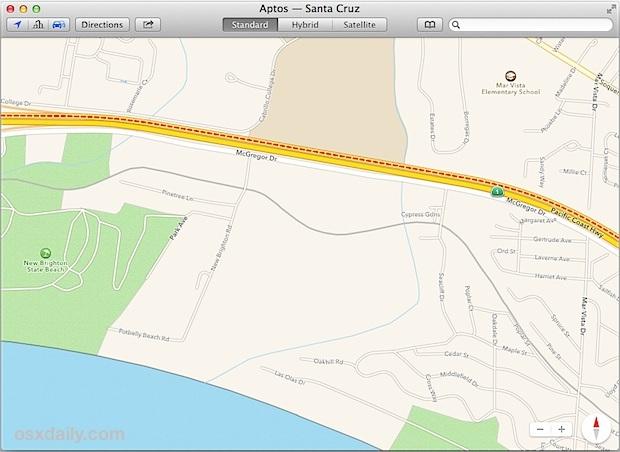 Traffico stradale indicato nell'app Maps per Mac OS X