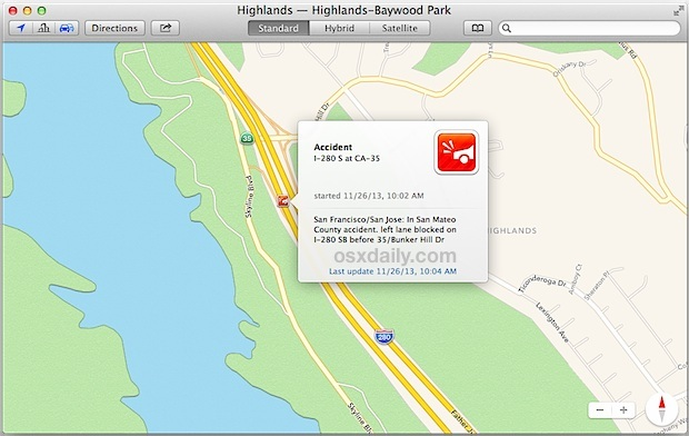 Rapporto sugli incidenti nell'app Maps per OS X