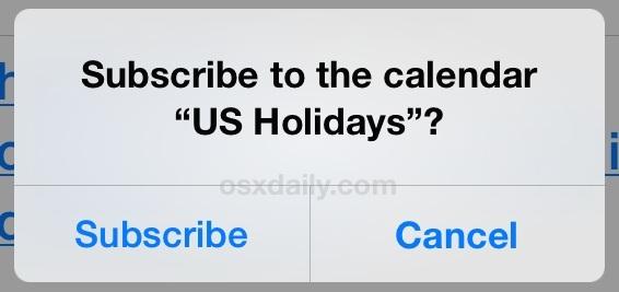 Iscriviti al calendario delle festività in iOS