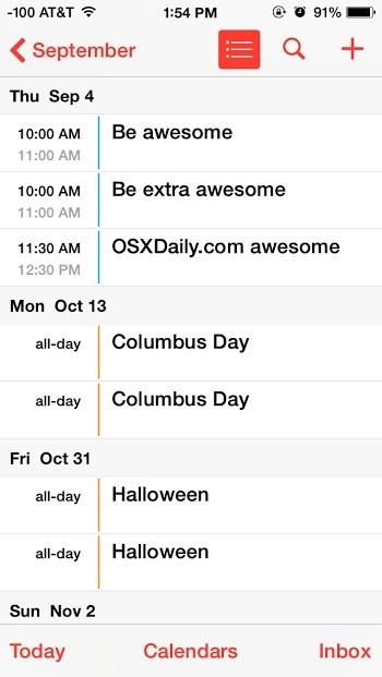 Vacanze mostrate nell'app Calendario per iPhone