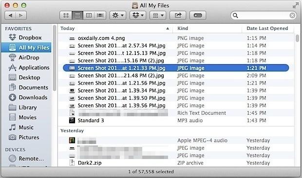 Ordinamento dei nomi con l'arrangiamento della data in OS X Finder